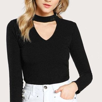 Halifax V-Neck Choker Top