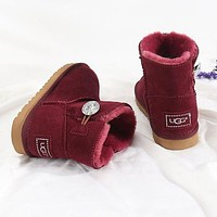 UGG New Diamond Buckle Couple Mid-cut Snow Boots Shoes-6