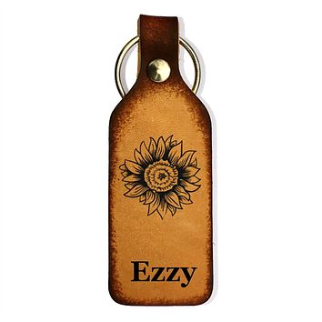 Sunflower with Name(s) Leather Keychain