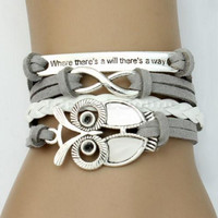 White and Grey Leather Infinity Bracelet