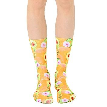 Pineapple Avocado Crew Socks
