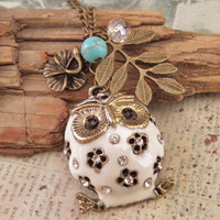 White owl with leaves flower turquoise stone by trinketsforkeeps