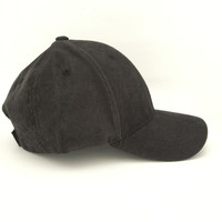 Corduroy Baseball Hat In Charcoal Grey