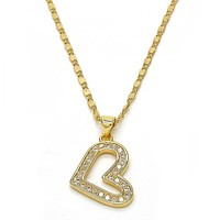Gold Layered 04.199.0016.18 Pendant Necklace, Heart Design, with White Cubic Zirconia, Polished Finish, Golden Tone