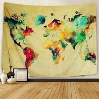 """Sunlightfree Colorful Watercolor World Map Tapestry Map Tapestry Wall Hanging Bedroom Living Room Dorm Home Decor Tapestry (Small/59.1"""" X 51.2"""")…"""