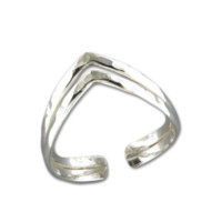 Double V Adjustable Toe Ring - Sterling Silver