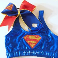 Super Steel Metallic Sports Bra and Bow Set Cheerleading