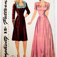 1940s vintage sewing pattern day dress evening gown bows and ruffles size 14 Bust 32 B32 Simplicity 4895