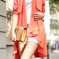 women's Chiffon blouses OL style Cloak and shawl suit Sundress Windbreaker Orange color Spring Top M-XL