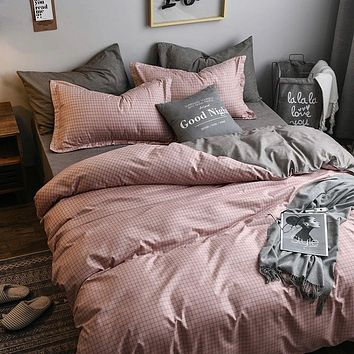 3/4 piece solid color bedding set, bedroom decoration quilt cover for girls AB side quilt cover