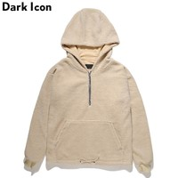 Half Front Zipper Sherpa Hoodie Men Winter Street wear Pullover Men's Hoodie Black Camel