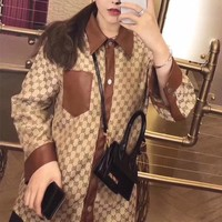 """Gucci"" Women Loose Retro Fashion GG Letter Multicolor Lapel Long Sleeve Shirt Coat"