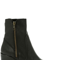 Steve Madden Peaches Black Leather Mid-Calf Boots