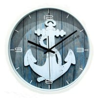 Juice Action 12 Inch Vintage European Style Anchor Nautical No Ticking Quartz Round Wall Clock