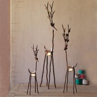 Rustic Iron Reindeer With Tealight Cups (Set of 3)