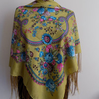 Mustard russian scarf,floral scarf,pashmina scarf,fringe scarf,gift for her,gift ideas,Russian scarf,floral scarf,