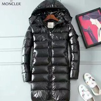 Moncler Black Down Jacket New Men's Fashion Jacket Long Plus Cotton Discount