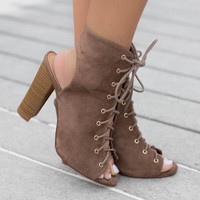 Forever More Taupe Lace Up Bootie