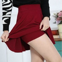 Tropical Candy Color Pleated Women Elastic Skorts