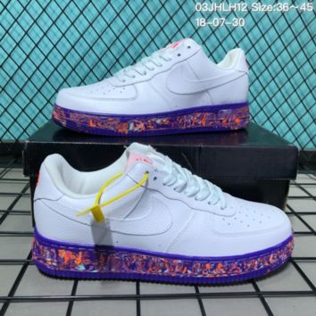 KUYOU N138 Nike 2018 Air Force 1 Low Leather Causal Skate Shoes White Blue Orange