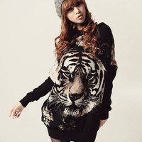 Casual Women Tiger Print Crewneck Batwing Knit Jumper Pullover Sweater = 1945706180