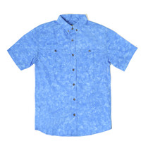 Marbled Short Sleeve Button Down Blue