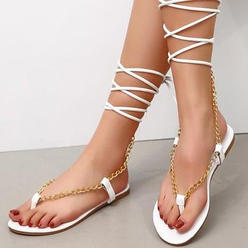 Summer new style ankle straps flat flip flops women's shoes