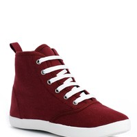 Burgundy Lace Up Sneakers