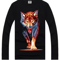 Black 3D Wolf Print Short Sleeve Graphic T-Shirt