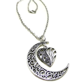 Silver Moon and Heart Necklace, Crescent Moon Necklace, Love Necklace, Silver Moon, Heart Jewellery, Moon Jewelry, Celestial Necklace