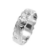14K WHITE GOLD HAND ENGRAVED HAWAIIAN PLUMERIA SCROLL BAND RING CUT OUT 6MM