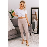 Be There Soon Ankle Tie Leggings (Khaki)