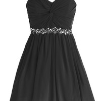 Dressystar Short Chiffon Bridesmaid Dresses Strapless Girls Prom Gowns Size 2 Black