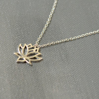 Lotus Flower Symbol Pendant / Silver Lotus Necklace / Sterling Silver Plated Flower Jewelry