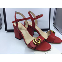 Gucci Women's Leather Fashion High-heeled Sandals