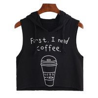 Summer Crop Tops For Women Tee Shirts Fashion Sexy Coffee Print Hooded Crop Sleeveless T-Shirt Tops camisetas y tops New