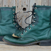 Vintage 80's Two Toned Green Leather Granny Roper Riding Boots, 8 Womens