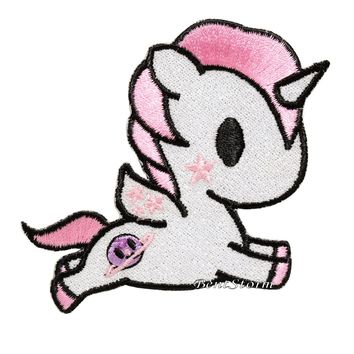 """Licensed cool Tokidoki Unicorno """"Cosmo"""" Embroidered Glitter IRON ON Patch Badge Loungefly NEW"""