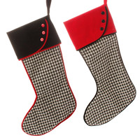 Town Square Black and White Houndstooth Christmas Stocking Set of 2 (Fillable or Ornaments)