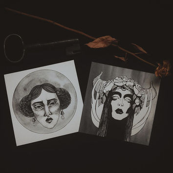 set of TWO cards digital print witch art cards two by gorimbaud