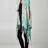 Large Charcoal Gray Heathered Aztec Mint Teal Trim Long Duster Fringe Cardigan