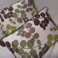 Decorator Pillows, Throw Pillows,  Chinese Leaf, Variegations, Green Natural, Down Fill, Inserts Included