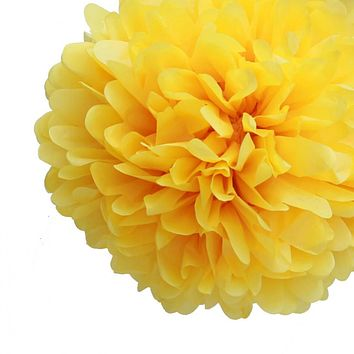 """BLOWOUT EZ-Fluff 8"""" Yellow Tissue Paper Pom Pom Flowers, Hanging Decorations (4 PACK)"""