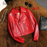 2018 autumn new zip zippered red leather long sleeves shirt fashion short selling female jacket jacket
