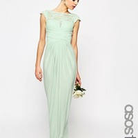 ASOS TALL WEDDING Lace Top Pleated Maxi Dress at asos.com