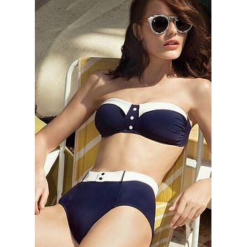 vintage high waist bikini retro navy blue high waisted swimsuit push up  bathing suits