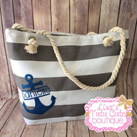 Personalized Anchor Canvas Bag. Nautical Bag. Bridesmaid Gifts. Shower Gift. Christmas Gift. Cruise Bag. Travel Bag. Vacation Bag. Rope Bag