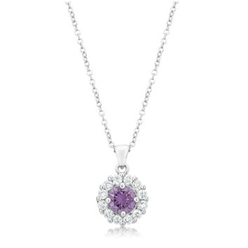 Belle Amethyst Round Halo Pendant Necklace | 4ct  | Cubic Zirconia