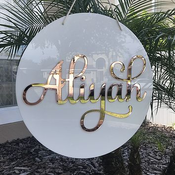 Round 3D Acrylic Name Sign, Single Name/Word - Aliyah Font