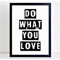 Do What You Love Motivational Family Word Art Print Kitchen Quote Motivation Wall Sign Letters Home Decor  PP5